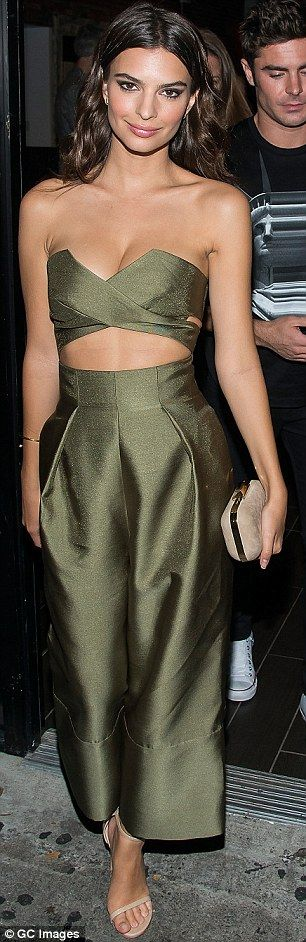 EmilyRatajkowski in olive jumpsuit while at the We Are Your Friends after party | Daily Mail Online