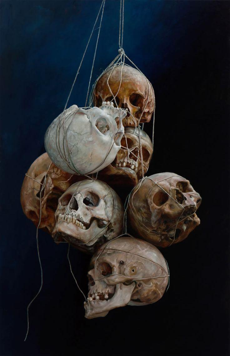 skulls in a bag...cool DIY Halloween decoration