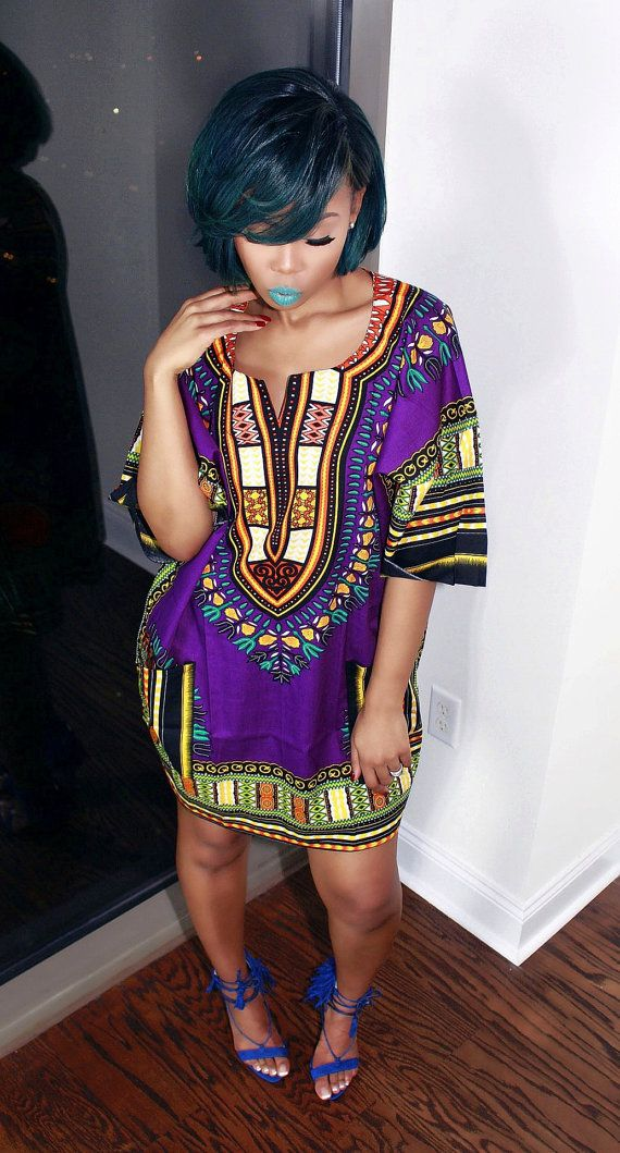Purple African Dashiki Dress/Top by MuurSwagg on Etsy