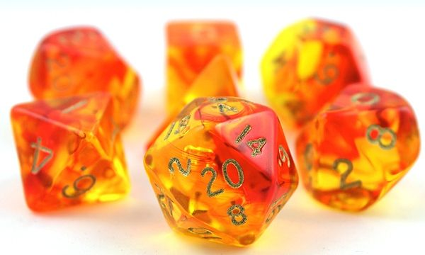RPG Dice Set (Firefly Orange and Red) roleplaying game dice