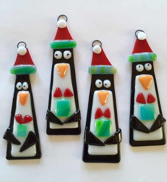Fused Glass Ornaments-Trio of Penguins by Artglassbystraub on Etsy