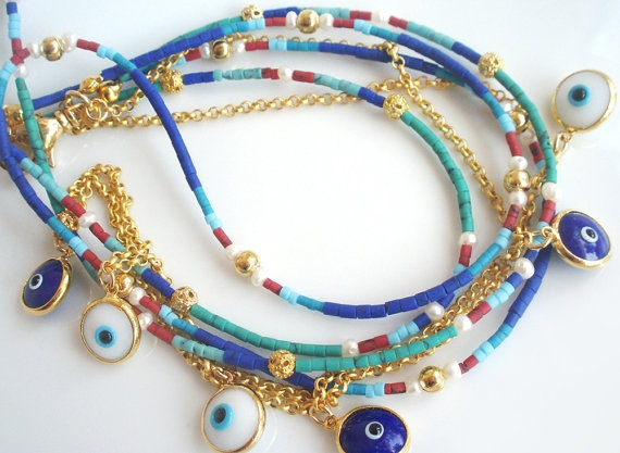 Turkish Evil Eye Lucky Charm Layered Necklace With Natural Stones - Nazar bead