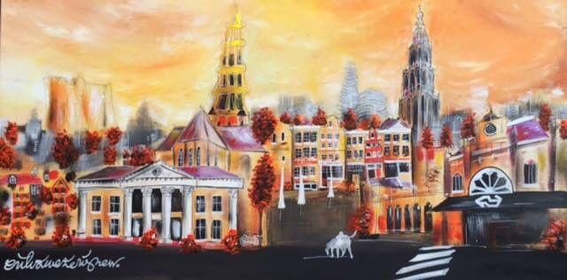 """Een van de nieuwste Groninger Skylines van Erik Zwezerijnen vol warme kleuren! """"The one and only"""" heeft het mooie formaat van 80 x 160. Ziet u hem al bij u aan de muur hangen op die ene mooie plek? www.erikzwezerijnen.com"""