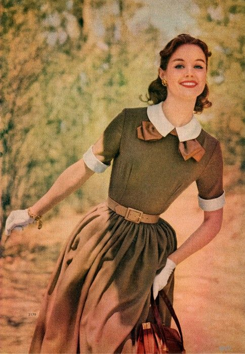 Dress fashion from the Simplicity Pattern Book - Fall-Winter, 1957. Schoolgirl look.