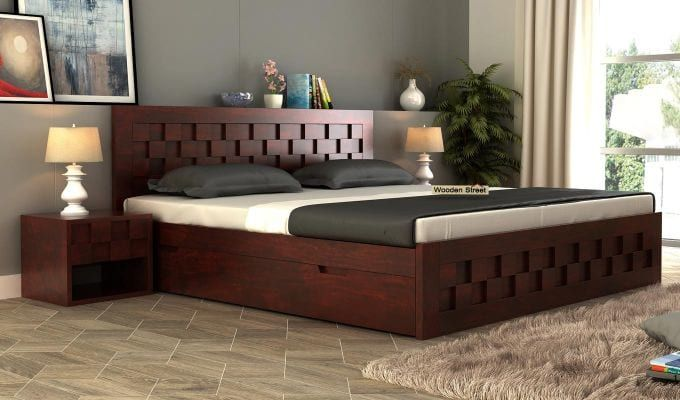 Buy Travis Bed With Storage Queen Size Honey Finish Online In