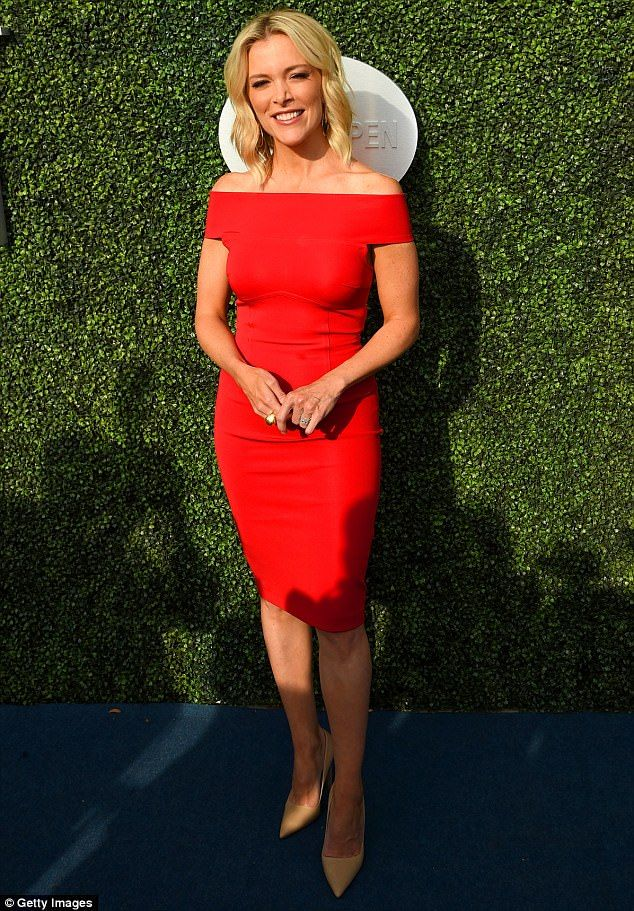 Lady in red: Megyn Kelly looked ready for a night on the town as she arrived at the opening day of the US Open in Queens on Monday evening