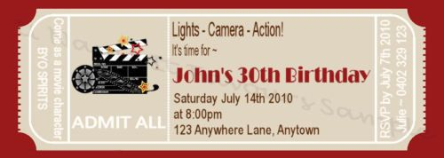 30th 40th 50th Movie Ticket Birthday Invitations x 10