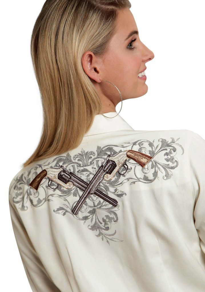 Roper Ladies White Poly/Rayon Antique Six Shooter L/S Western Shirt