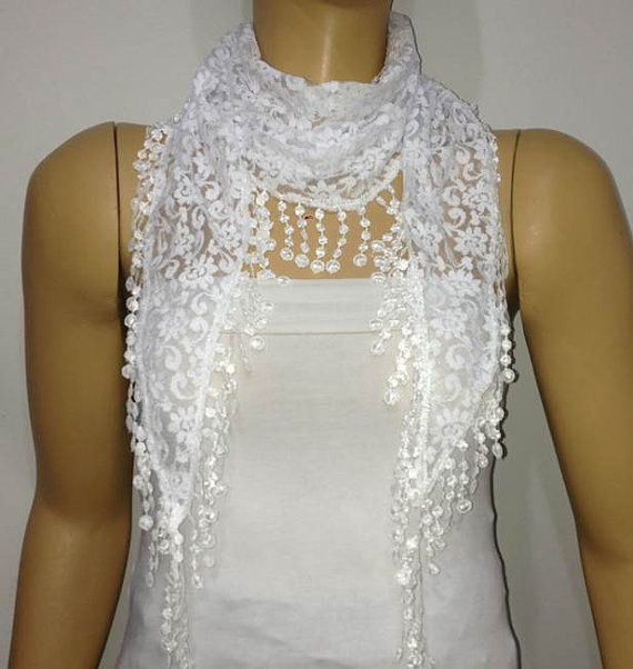Snow WHITE Lace scarf with lace fringe  Triangle by istanbuloya