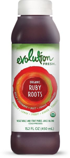 Organic Ruby Roots - Relish this invigorating blend of crisp, organic fruits and vegetables that leads with cranberry and acerola cherry but follows closely with earthy organic beets, ginger and turmeric.