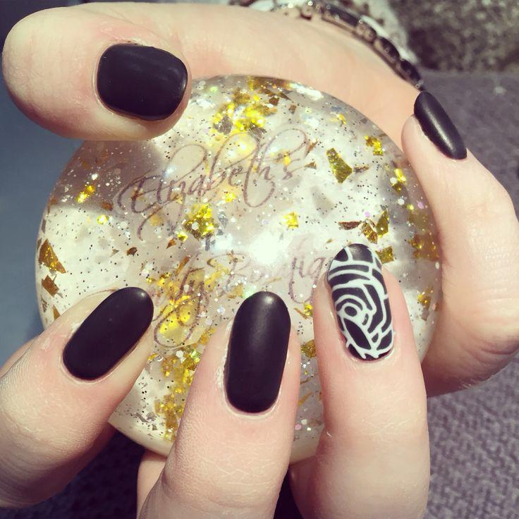 Matte black with white rose detail at Elizabeths beauty boutique 07717787245