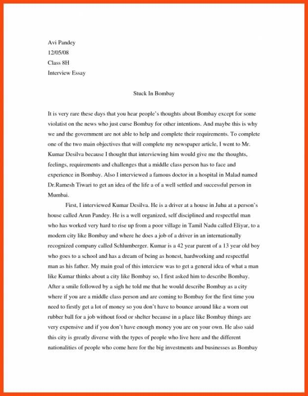 Interview Essay Example Check More At Http Nationalgriefawarenessday Com 32286