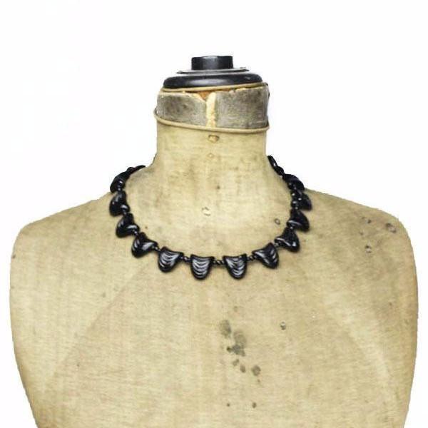 Art Deco Black Czech Glass Bead Scallop Necklace