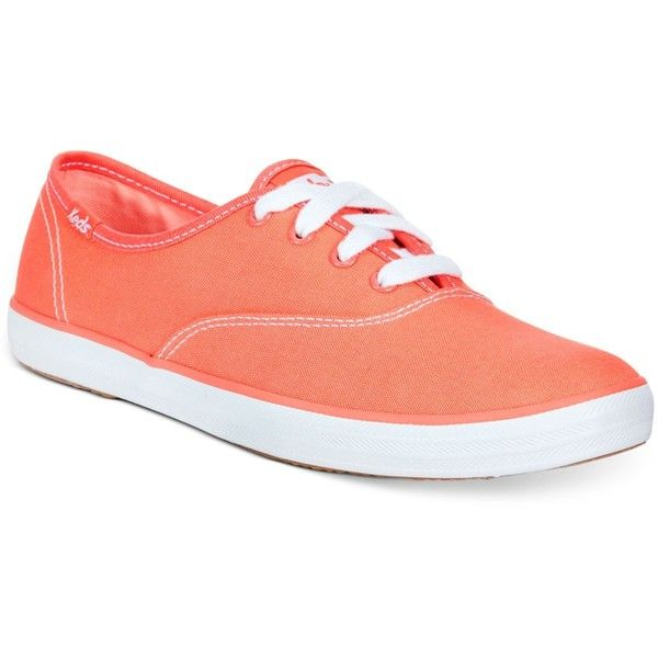 Keds Women's Champion Oxford Sneakers Women's Shoes ($40) ❤ liked on Polyvore featuring shoes, sneakers, coral, flats, multi colored shoes, keds, multi color flats, coral shoes and multi colored flat shoes