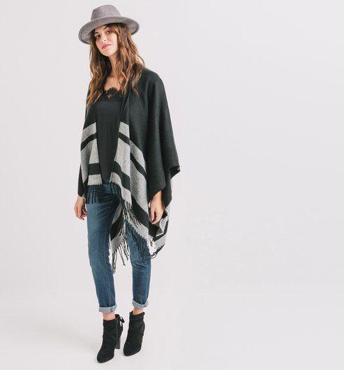 17 meilleures id es propos de poncho femme sur pinterest diy manteau femme poncho femme - Poncho femme noir ...