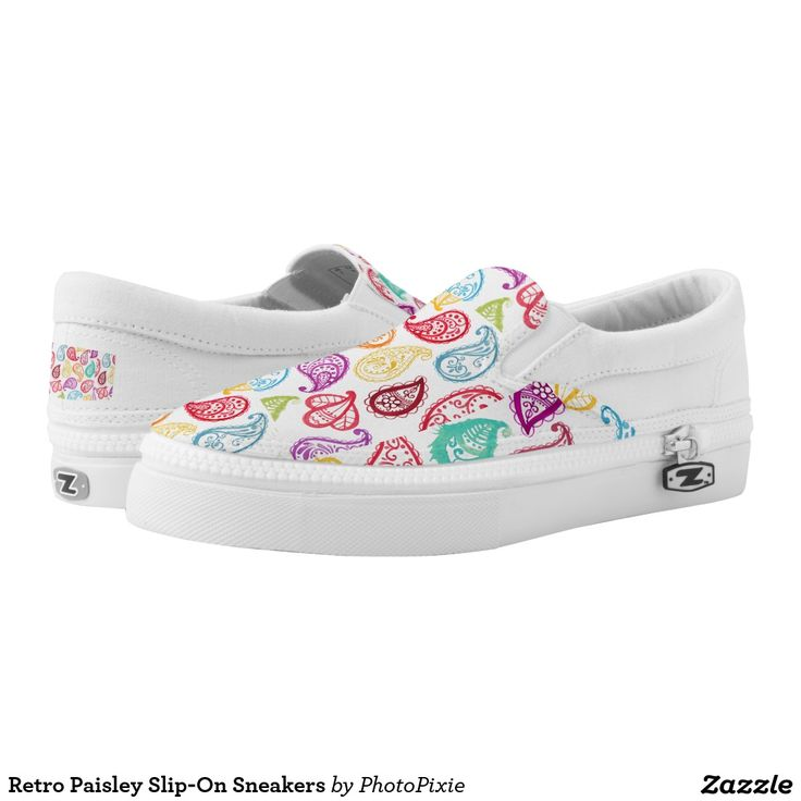 Retro Paisley Slip-On Sneakers