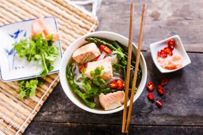 Poached Salmon with Ginger Broth