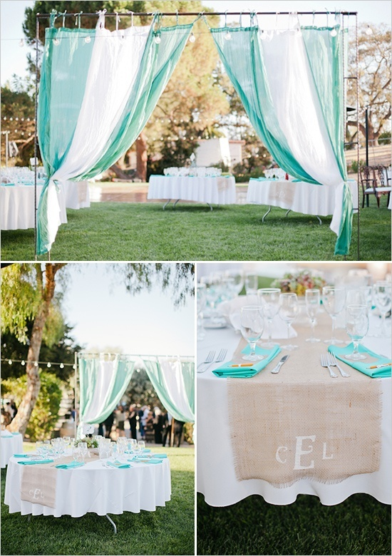 teal wedding ideas @ Lovely Wedding Day. hmm can be done i the backyard. White PVC pipes, & a little imagination
