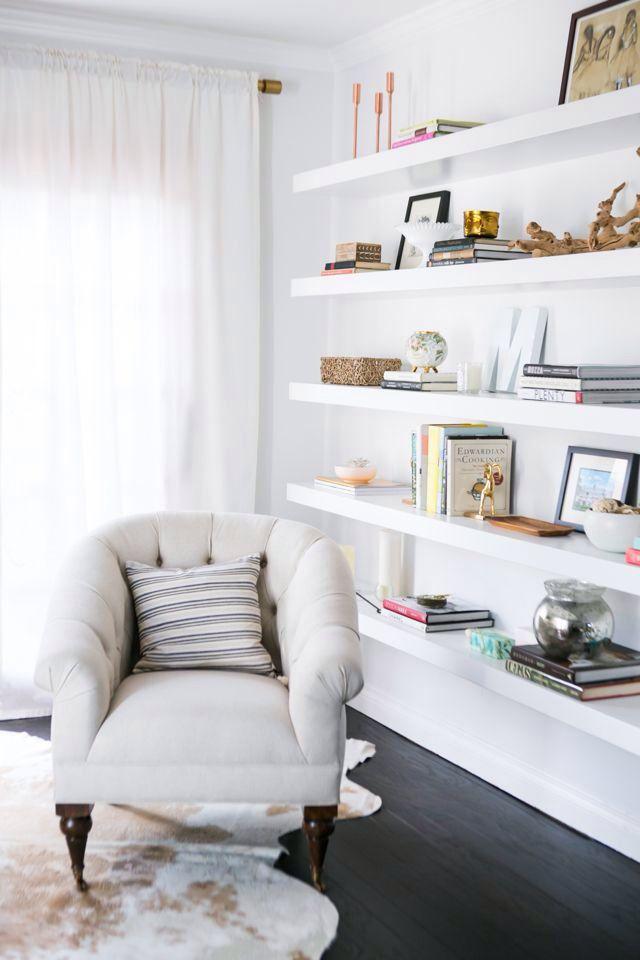 25 best ideas about floating wall shelves on pinterest basement decorating ideas shelving. Black Bedroom Furniture Sets. Home Design Ideas