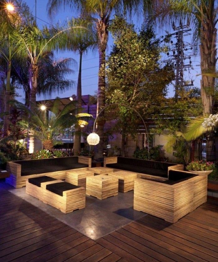 eclairage terrasse bois lanterne exterieur lumiere jardin idee luminaire pas cher spots led sol lampadaire jardins