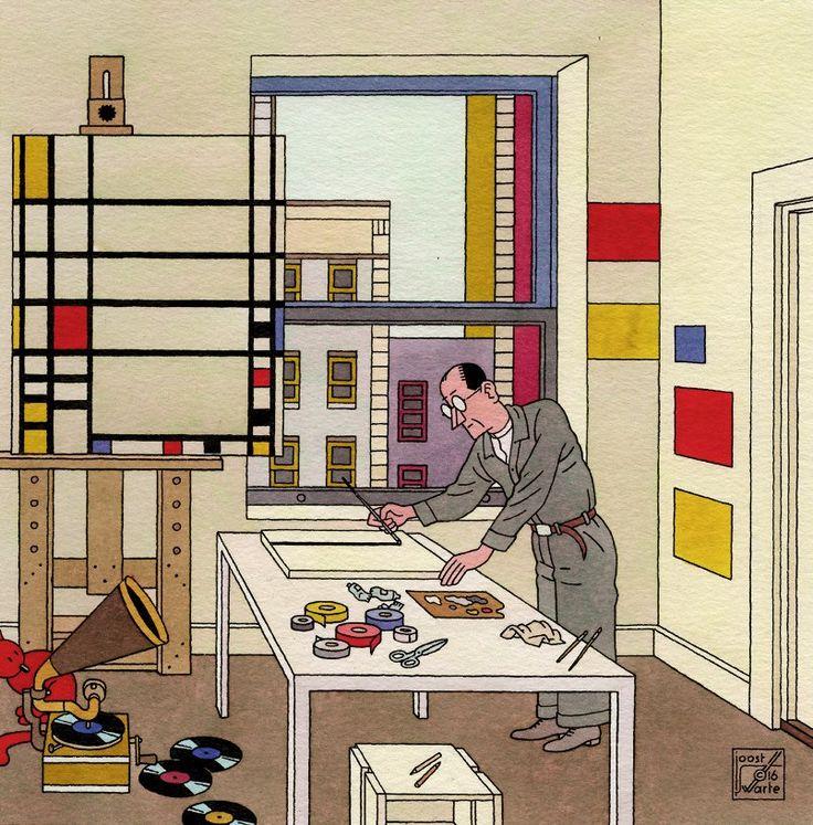 """Piet Mondriaan in """"En Toen De Stijl"""" by Joost Swarte"""