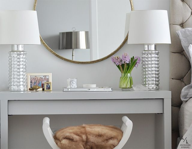 ikea malm painted high gloss gray. good idea for next to guest bed.  gives them a desk and a table