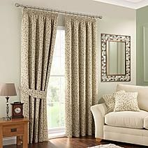 Heritage Glava Green Lined Pencil Pleat Curtains