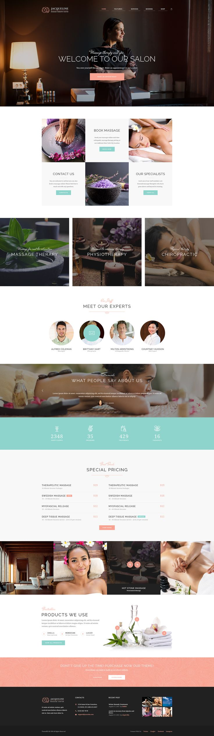 We are presenting you Jacqueline, a premium WordPress theme with advanced functionality and beautiful design. Jacqueline is right for you, if you seek to build a website for spa, beauty, hair or makeup salon, wellness center or massage services.