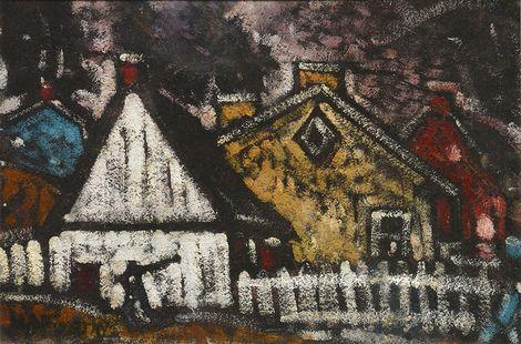 Marc-Aurèle Fortin, White Picket at Night on ArtStack #marc-aurele-fortin #art
