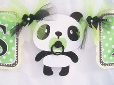 Panda baby shower banner, its a boy banner, green, ivory, black and white