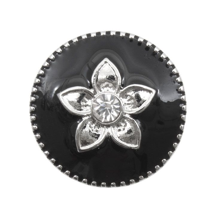 Snap! Metal with Stones Interchangeable Fastener Round With Flower 19MM Crystal/Black Nickel 1pc Off Price Policy - 4005-0103-002 - Club Bead Plus