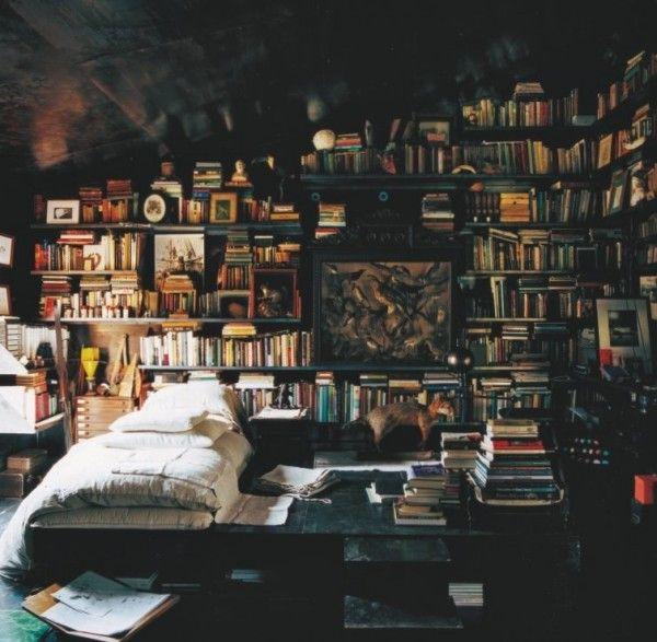 Strange bedroom bed book reading