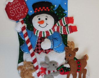 Finished Christmas Stocking - Santa Stop Here- NEW DESIGN