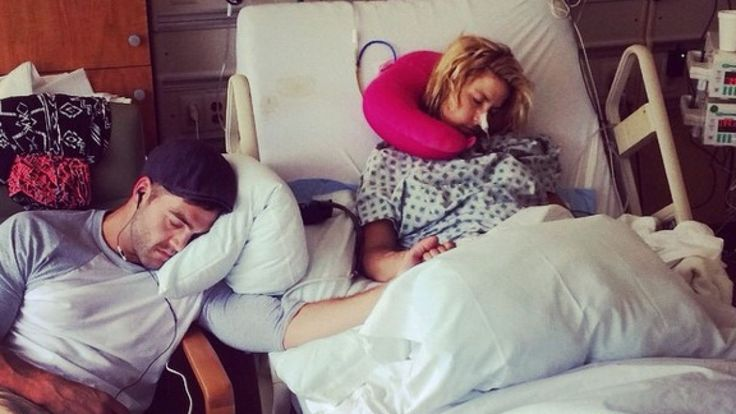 The Challenge star posted a pic of himself and ex-girlfriend Diem Brown holding hands in her hospital room.