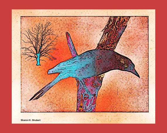 Grackle Bird Abstract Fauvism Art Southwest by GrayWolfGallery, $25.00