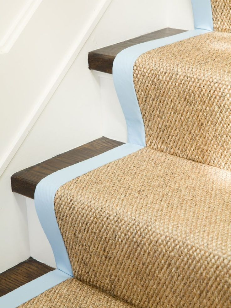 Best Carolinablue Binding On Sisal Stair Runner Tarheel 640 x 480