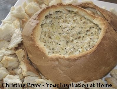 Spinach Cobb Loaf. A quick and easy cobb loaf for a party appetiser. This recipe includes frozen Spinach, YIAH Dill & Onion Dip Mix, Light Sour Cream, Light Cream Cheese, Light Tasty Cheese in a crusty cobb loaf. Visit my Facebook page for the full recipe - www.facebook.com/ChristinePryorYIAH