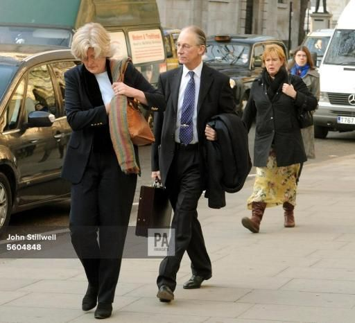 feb 11, 2008--Diana inquest-Sir Robert Fellowes and his wife Lady Jane Fellowes arrive at the High Court. Sir Robert, the Queen's former private secretary will today give evidence at the inquest into the death of Diana, Princess of Wales-