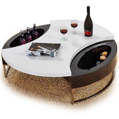 Modern black and white round top coffee table with storage Mino.