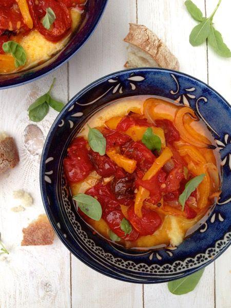 Italian Peperonata Recipe over Creamy Polenta   CiaoFlorentina.com @CiaoFlorentina
