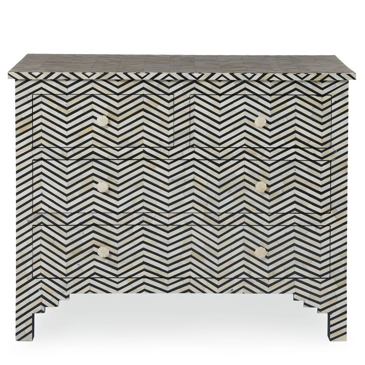 Drawer Cabinet | Bernhardt: Herringbone Drawers, Drawers Cabinets, Black And White, Patterns Bones, Bones Inlay, Bernhardt Interiors, Products, Herringbone Patterns, Chest Of Drawers