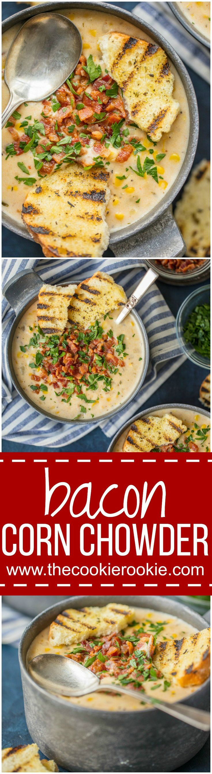 BACON CORN CHOWDER is a must make for Winter! This delicious sweet chowder loaded with potatoes, corn, bacon, and so much flavor is the ultimate comfort food.