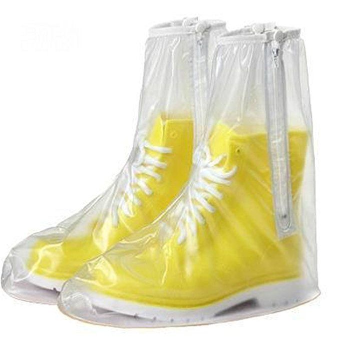 SAGUARO Reusable Waterproof Rain Shoes Cover 2 Side Zippers Rain Boots Flat Overshoes Rain Gear for Motorcycle/Bicycle/Riding