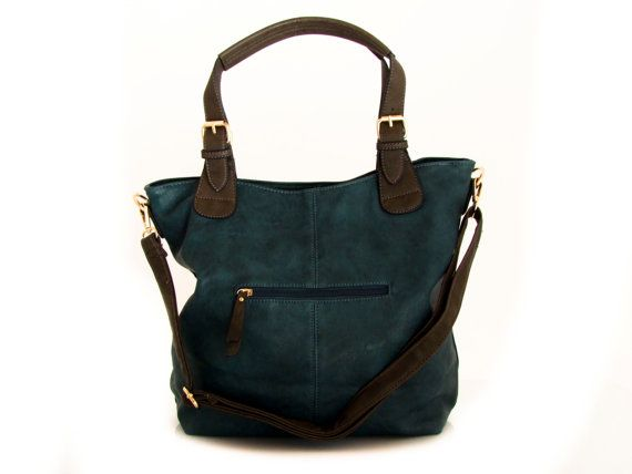 Handmade vegan leather handbag tote teal blue the by traccebags
