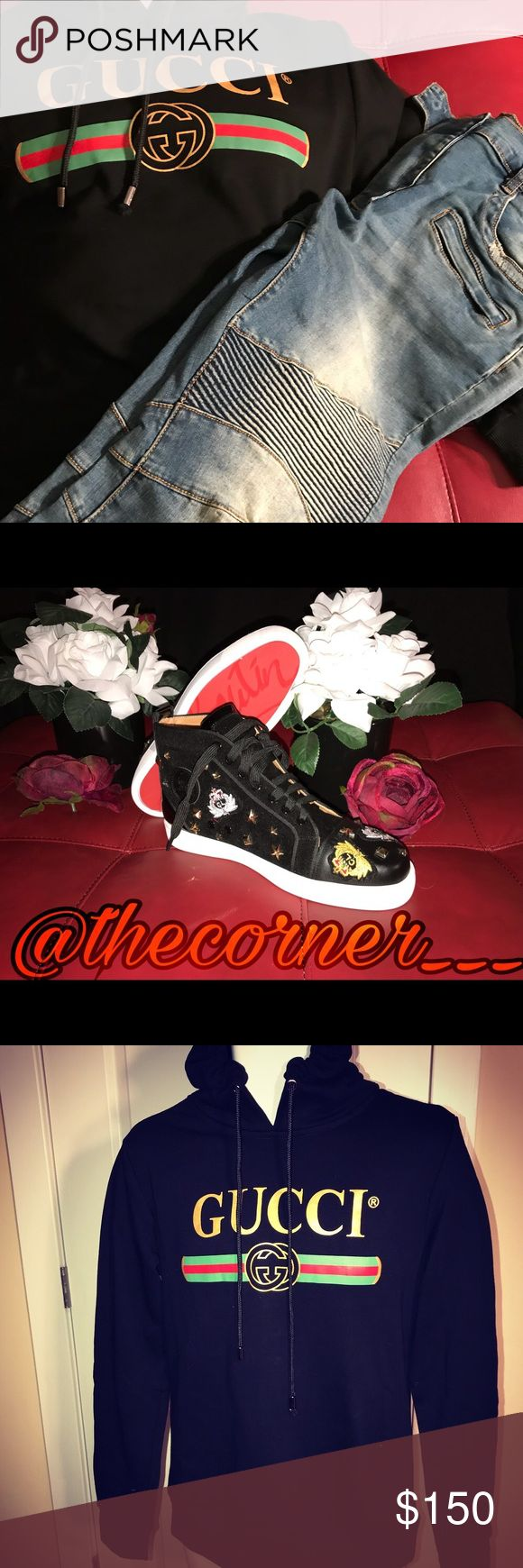 Gucci, Balmain, & Lou Boutin IG: @thecorner___ *Gucci Hoodie *Balmain Jeans *Lou Boutin Red Bottoms Gucci Other