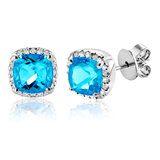 Boucles d'oreilles à tiges fixes en or blanc 14K serties de diamants totalisant 0.17 Carats et de topazes bleu véritables - Qualité:I Couleur:GH
