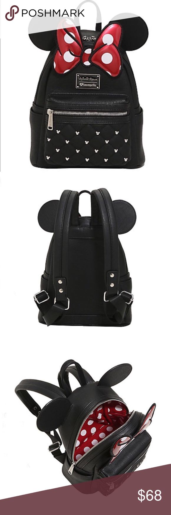 "Minnie Mouse Mini Backpack New Arrival! New Minnie Mouse mini Backpack by Disney. Features Minnie Mouse ears and her signature bow. Plus mouse head studs on the quilted front pocket. Inside has red and white polka dot lining. Zipper closure. Adjustable straps. Comes with original packaging and tags.   Made of faux leather. Measures: 8"" x 4"" x 11""  item by Loungefly.   Tags: Disneyland, Disney world, Star Wars, Donald Duck, Mickey Mouse. Follow game Disney Bags Backpacks"