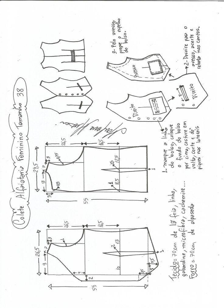 Esquema de modelagem de colete feminino alfaiataria tamanho 38.