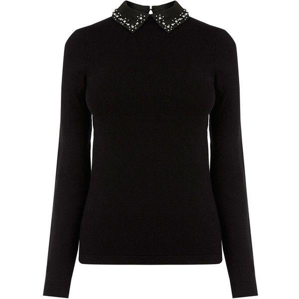 EMBELLISHED COLLAR JUMPER ($65) ❤ liked on Polyvore featuring tops, sweaters, jumpers sweaters, jumper top, knit sweater, knit jumper and knit jumper sweater