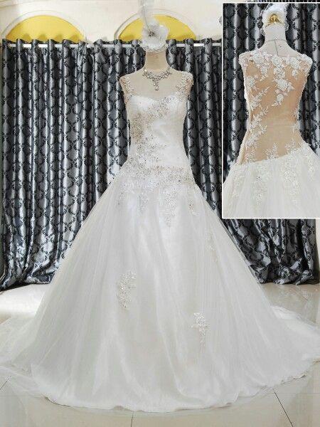 Wedding gown ekor, belakang tranparant
